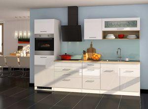 Küchenblock Mailand 290 cm weiß hochglanz ohne Elektrogeräte