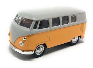 Volkswagen VW Bus T1  Bulli 1963 gelb / beige Modellauto mit Rückziehmotor 12 cm