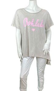 Oversize T-Shirt Ohlala kurzarm , Größe:Einheitsgröße, Farbe:BEIGE