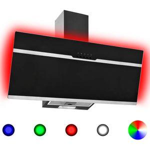 vidaXL RGB Dunstabzugshaube LED 90 cm Edelstahl und Hartglas