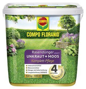COMPO FLORANID® Rasendünger gegen Unkraut + Moos Komplettpflege - 9 kg für 300 m²