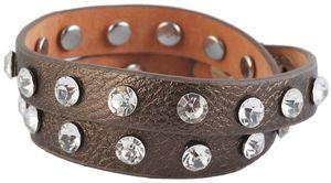 Wickelarmband metallic Strass Doppelarmband Kunstlederarmband
