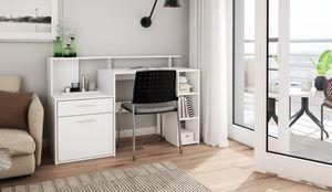 HOMEXPERTS Schreibtisch LARRY, Breite 140 cm, in weiß, mit viel Stauraum