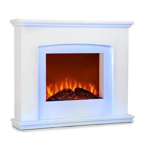 Klarstein Aosta Light & Fire Elektro-Kamin mit Flammeneffekt - Elektrischer Kamin,1000 oder 2000 Watt, E-Kamin, adaptive Startsteuerung, Timer, MDF-Gehäuse, Thermostat, Fernbedienung, weiß