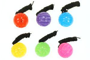 """6er Set Springball/Returnball/Flummi """"Neon"""" Ø5,5cm Armband & Schnur blinkt und leuchtet"""