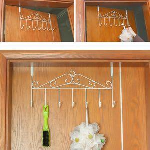 42,5cm Türgarderobe Metall für Montage über der Tür   Kleiderhaken mit 7 Haken   Türhakenleiste   Garderobenhaken Türleiste   Kleiderhalter für die Tür   Türhängeleiste ohne Bohren   (braun)