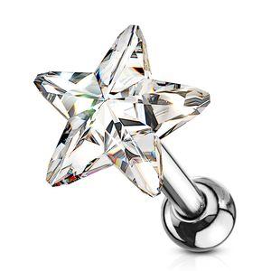 Tragus Ohr Piercing Stecker Helix Cartilage Barbell Stern Star Zirkonia Kristall Autiga® silber-klar