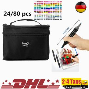 24/80 Farbe CopicMarker Lackmarker Stifte Architektur Twin Tip Graffiti Draw Pen,mit Tragetasche,24 Farbe,SoGoods