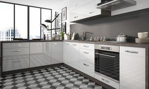 Küchenzeile 210x300cm L-Form 11-tlg. lava / weiß Hochglanz Einbauküche Küchenblock Komplett Küche