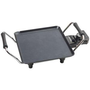 Bestron Elektrische Plancha-/Teppanyaki-Grillplatte mit Antihaftbeschichtung, 1000 W, Schwarz