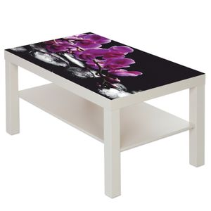 Couchtisch mit Motiv Natur & Blumen Orchidee in lila & schwarze Steine : weiß Farbe: weiß