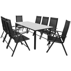 Casaria 8+1 Sitzgruppe Alu Bern Klappstühle Gartentisch 190x90cm Milchglas Sitzgarnitur Gartenmöbel Set, Farbe:anthrazit