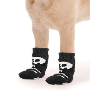 4pcs Hund Katze Pfotenschutz Anti-Rutsch Hundesocken mit Skelett Muster M