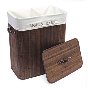Bambus Wäschebox 105L braun faltbar Leinensack Wäschkorb Wäschesammler
