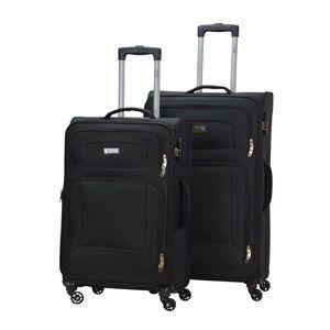 Trolley Koffer Barkley-Spinner - schwarz - Robuster Polyester-Koffer, Größe:2-teilig