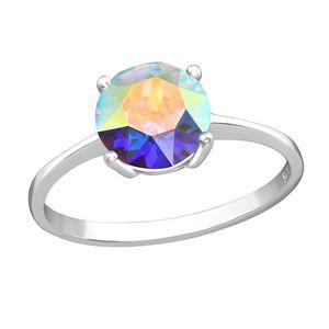 Solitär Ring mit Aurora Borealis Zirkonia: Silber Damenring / Verlobungsring, Ringgrösse:56 (17.8 mm Ø)