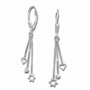 SilberDream Ohrhänger für Damen 925 Echt Silber 3er Kettchen Ohrringe SDO5733