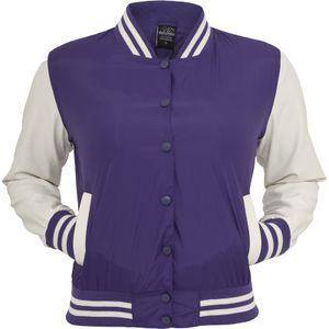 URBAN CLASSICS LADIES LIGHT COLLEGE JACKET FRAUEN COLLEGEJACKE, Größe:XS, Farbe:Purple/White