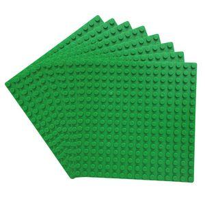 8er Platten Set 13cm x 13cm / 16x16 Pins, Große Grund- Bauplatte für Lego, Sluban, Papimax, Q-Bricks,  Grün