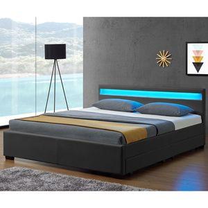 Juskys Polsterbett Lyon 180 x 200 cm grau – Bettgestell mit Lattenrost, Bettkasten & LED Beleuchtung  – Kunstleder & Holz – Bett Doppelbett