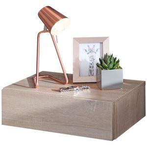 WERAN Nachtkonsole  für Wandmontage 46x15x30cm Sonoma Nachttisch Holz | Wandregal mit Schublade