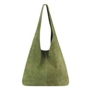 ITALY DAMEN LEDER TASCHE Handtasche Wildleder Shopper Schultertasche Olivgrün