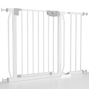 Froggy Türschutzgitter 95-103cm inkl Verlängerung Absperrgitter Klemminstallation ohne Bohren Treppenschutz doppeltgesichertes Türschließsystem Metall