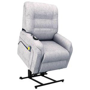 vidaXL Massage-TV-Sessel mit Aufstehhilfe Elektrisch Hellgrau Stoff