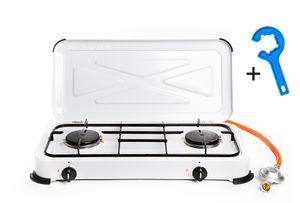 2 flammiger Propan Gaskocher mit Zündsicherung + emaillierte Brennerdeckel und Topfträger (Hockerkocher, Kocher, Gastrokocher, Gasherd, Campingkocher)
