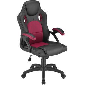 Juskys Racing Schreibtischstuhl Montreal (bordeaux) ergonomisch, höhenverstellbar & gepolstert, bis 120 kg - Bürostuhl Drehstuhl PC Gaming Stuhl