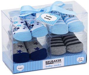 BRUBAKER 4 Paar Baby Jungen Socken 0-12 Monate - Sterne - in Geschenkverpackung