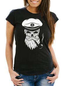 Damen T-Shirt Totenkopf Kapitän Captain Skull Bard Hipster Seemann Neverless® schwarz S