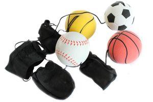 4er Set Springball/Returnball/Flummi Ø6cm  Armband&Schnur, Fußball/Basketball/Tennisball/Baseball