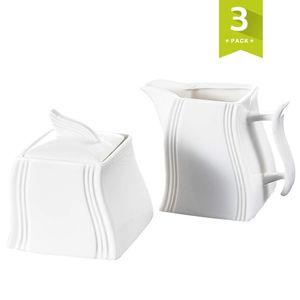 MALACASA, Serie Flora, 3-teilig Cremeweiß Porzellan Milch und Zucker Set mit Deckel, Milchkännchen Zuckerdose Milch- & Zuckerbehälter