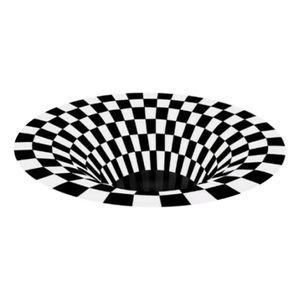 3D Vortex Teppich Visual Illusion Teppich Anti-Rutsch-Bereich Esszimmer Matte Durchmesser 100 Cm Schwarz Andere Geometrisch Durchmesser 100cm Area Rug