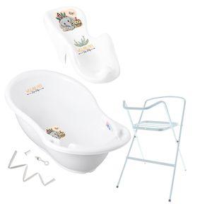 Tega Baby ® Baby Badewanne mit Gestell und Verschiedene Sets mit Babybadewannen + Ständer + Abfluss + Badewannensitz 0-12 Monate, Motiv:Elefant - weiß, Set:4 Set Weiß
