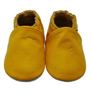 Weiche Yalion Baby Krabbelschuhe Lauflernschuhe Lederpuschen aus echtem Leder Einfarbig Gelb (L, 12-18 M, EU 21-22)