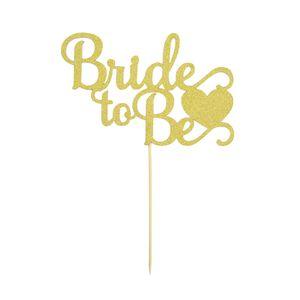 Oblique Unique Torten Kuchen Muffin Topper Aufsatz Bride to Be Hochzeit JGA Deko - gold