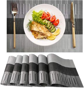 PVC Platzsets 6er Set Abwaschbar Hitzebeständig Tischsets für Küche Tisch Grey