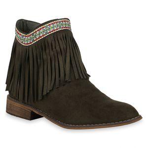 Mytrendshoe Damen Stiefeletten Ankle Boots Ethno Schuhe Fransen Booties 824560, Farbe: Dunkelgrün, Größe: 36