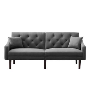 i@home 2 Sitzer Sofa 188cm Klappbares Schlafsofa mit 2 Kissen Grau