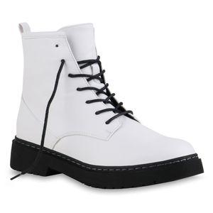 Mytrendshoe Damen Stiefeletten Worker Boots Schnürer Profil-Sohle Schuhe 836073, Farbe: Weiß, Größe: 38
