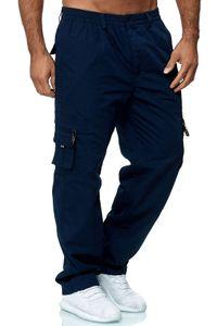 Herren Cargo Hose Leicht Gefüttert Tactical Combat Outdoor Pants Dehnbund Arbeit Angeln Taschen, Farben:Blau, Größe Hosen:L