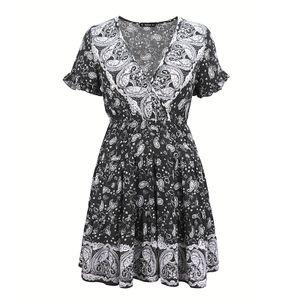Damen Bohemian Floral Kurzarm Minikleid,Farbe: Schwarz,Größe:L