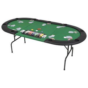 vidaXL 9-Spieler Poker Falttisch 3-fach Faltbar Oval Grün