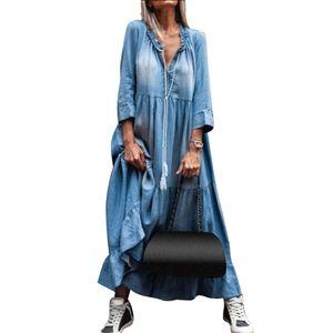 Vintage Damen Spitze V-Ausschnitt 3/4 Ärmel mit großem Saum Quaste Loose Maxi Denim Kleid