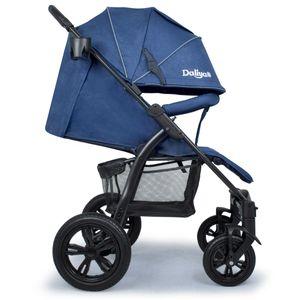 Daliya® Variyo Buggy Kinderwagen Jogger XXl Sonnenverdeck Lederbezug  (Set 00, Dunkel Blau)