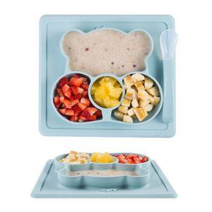 Baby Teller Silikon Kinderteller Rutschfest Unterteilt Tragbare Babyplatte Kleinkindplatte BPA-freie Kinder-Tischset Blau