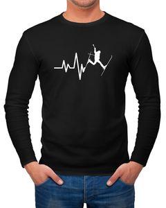 Herren Long-Sleeve Ski Herzschlag Frequenz Skifahrer Wintersportler Langarm-Shirt Moonworks®  L