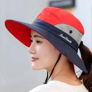 Sonnenhut Damen UV Schutz Hut Faltbar Wanderhut Gartenhut Boonie Fischerhut-rot